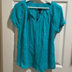 Teal striped short sleeve
